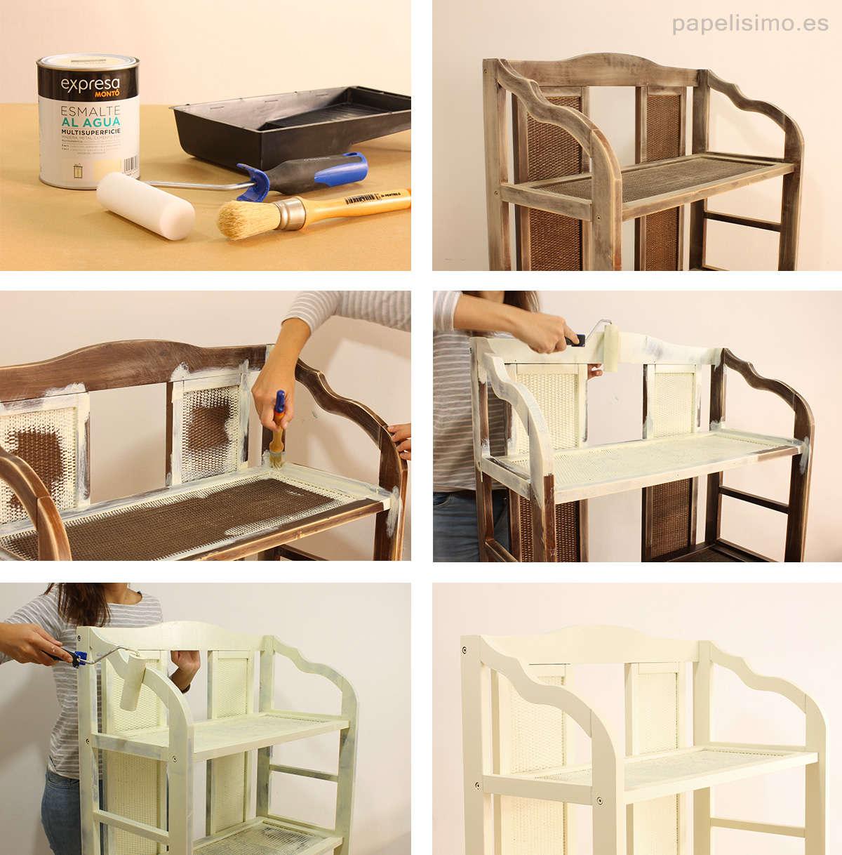 Restaurar estanter a de madera estilo n rdico mi hogar - Pintar madera blanco ...